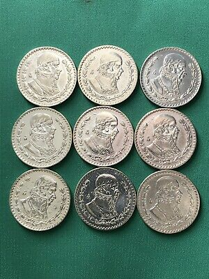 SILVER MEXICAN PESO Lot of 9 Coins