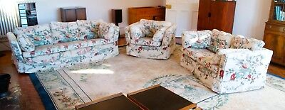 Vintage Mid Century Large 3 Piece Suite 3 + 2 + 1 Seater Feather Cushions
