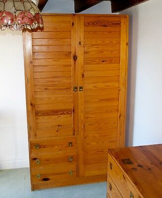 Vintage Mid Century Joiner Made Solid Pine Wardrobe 1970's Retro with 3 drawers