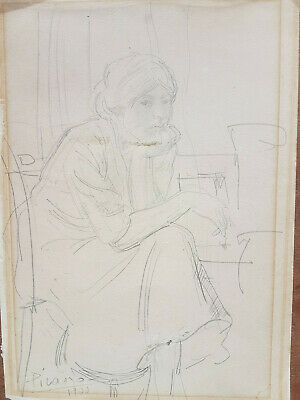 Picasso Pablo original pencil drawing  dated1900 hand signed