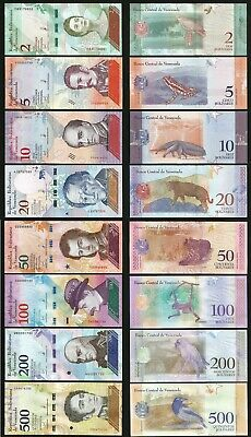 VENEZUELA 8 PCS UNC SET , 2 to 500 BOLIVARES SOBERANOS 2018 , LAST TWO S/N SAME
