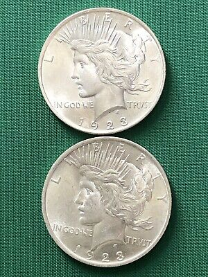 Peace Silver Dollar Lot of Two Coins