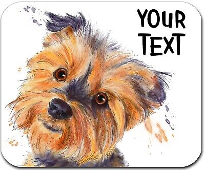 Mouse Pad Personalized Custom Thick Mousepad-Watercolor Yorkie-Free Shipping