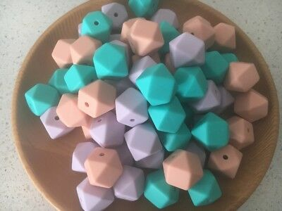 Silicone Beads Australia DIY Necklace 10 X 14mm Hexagon Turquoise was Teething