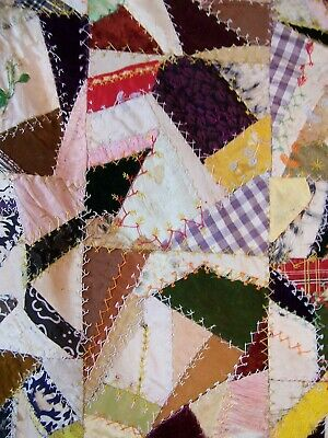 """Antique Crazy Quilt Hand Stitched & Embroidered ONE OF A KIND 68"""" x 74"""""""