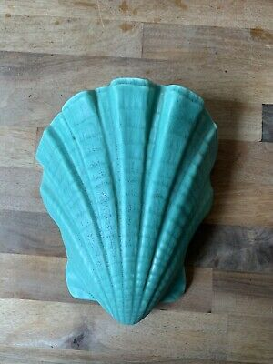 Bretby Wall Pocket Scallop Shell Shape Art Deco Green/Turquiose Pottery 1930s