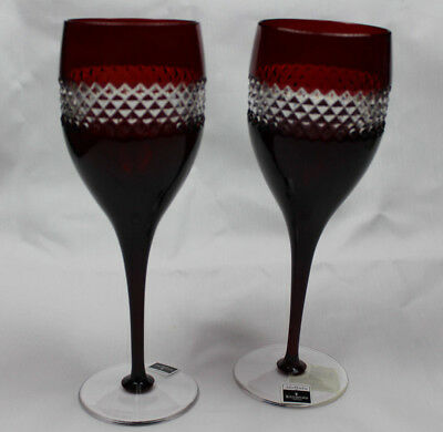 Waterford Crystal John Rocha Red Wine Glass Pair - New in Box