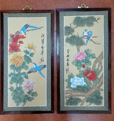 PR Late 20th CENTURY Vintage CHINESE PAINTING on SILK BIRDS and FLOWERS Framed