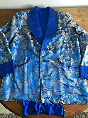 Vintage 1940s Chinese Brocade Quilted Mens Smoking Jacket