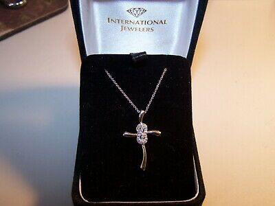 New 18 Kt Gold/sterling Silver Jcm 20 Diamond Cluster Cross Pendant Necklace And