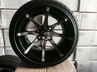 """HAPPY EASTER 12"""" Black and Chrome Golf Cart Wheels"""
