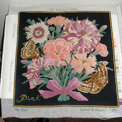 "COMPLETED Elizabeth Bradley English Needlepoint 16"" Pure Wool Tapestry - Pink"