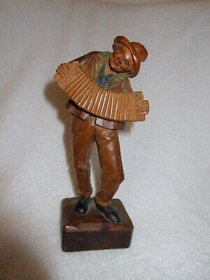 """Vintage ANRI Italy Musician Accordion Wood Carved 8.5"""" Black Forest Man Figure"""