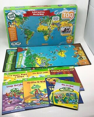 LEAPFROG TAG READING System Interactive WORLD/UNITED STATES Maps & 7 ...