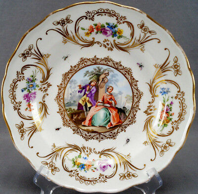 Meissen Hand Painted Dresden Courting Couple Floral & Gold Scrolls Plate 1814-60