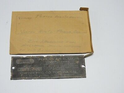 1922 Vintage VORTEX POMONA Air Cleaner INSTRUCTION Name Plate from a Buick Car