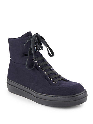 ad42bfd569c NIB Jil Sander Navy Flannel  Leather LaceUp High Sneaker Ankle Boot Shoe 39  8