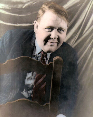 """CHARLES LAUGHTON HOLLYWOOD ACTOR WRITER PRODUCER 8x10"""" COLOR HAND TINTED PHOTO"""