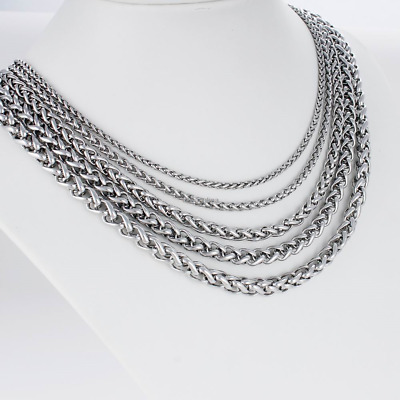 """10mm Men's Chain Silver Tone Wheat Link Stainless Steel Necklace 7""""-40"""" Gifts"""