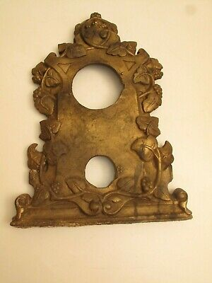 Antique Cast Iron Mantel Clock Face Front Brassy Floral C 1890's Victorian, Part