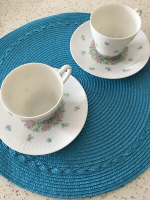 Set Of 2 Rosenthal Romance Garland Coffee Cups And Saucers
