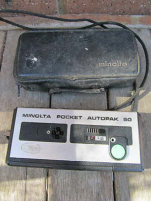 Vintage Minolta, Pocket AutoPak 50 - 110 cartridge film Camera & case - Japan