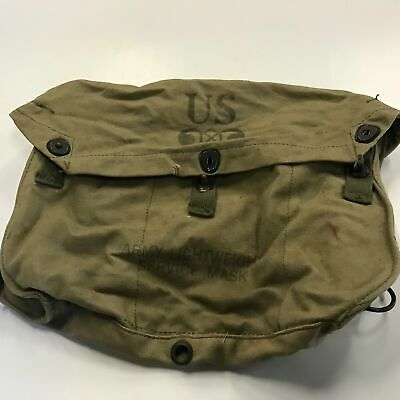 WWII U.S. Army Issue Green Canvas Lightweight Service Gas Mask Bag