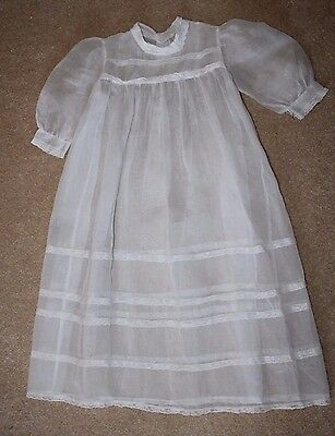 "RARE ANTIQUE CHRISTENING GOWN HANDMADE 30"" LONG BATISTE  Lovely!"