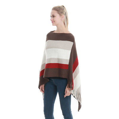 Women's Elegant Knitted Poncho Fringed Sides Sweater Pullover Wrap Shawl Cape
