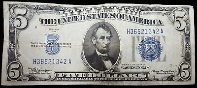 1934A & 1953A $5 Silver Cert's, both F+ (2 Notes)