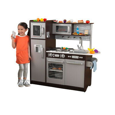 KIDS KITCHEN TOY w/ Refrigerator Uptown Espresso Toddler ...