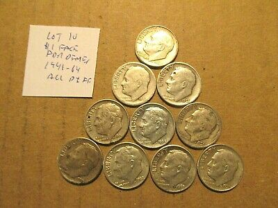 $1 Face~90% Silver~FDR Dimes~All Different~1946-1964~Free Ship~.88 oz~Lot 10!