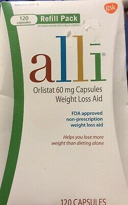 ALLI Weight Loss Aid ORLISTAT 60mg Caps 120 EXP-7/2020 (Sealed)refill Pack