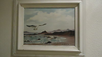 Vintage seascape ocean beach gull hand painted original oil painting by Hardison