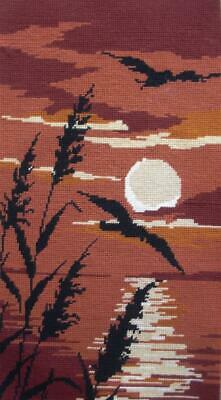 """Vintage completed wool needlepoint bird in the lake sunset tapestry 19""""x10.5"""""""