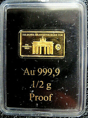 "EDLE GOLDBARREN Gold 999er  ""225 JAHRE BRANDENBURGER TOR"""