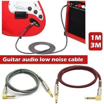 """3m 6.3mm 1/4"""" Right Angle Male Electric Guitar Amp Cable Lead Instrument Audio"""