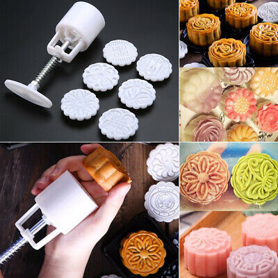DIY 50g Round Flower Moon Cake Mold Mould Mooncake Decoration With 6 Stamps US