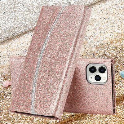Samsung Wallet Phone Case For Galaxy S9 S8 Plus Bling Glitter Leather Flip Cover