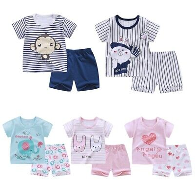 Baby Kids Boys Girls Cute Cartoon Print T-shirt Tops+Shorts Casual Outfits Sets