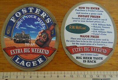 1 x FOSTERS LAGER EXTRA BIG WEEKEND AUSTRALIA BEER COASTER