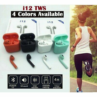 i12 TWS Wireless Earbuds Bluetooth5.0 Mini Earphone Headphone Touch Control 2019