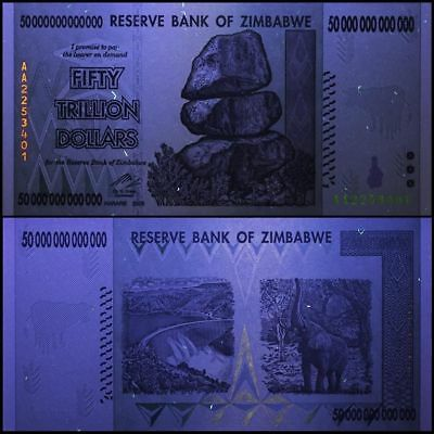Zimbabwe 50 Trillion Dollars, Uncirculated 2008AA AUTHENTIC NOTE