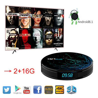 2019 HK1 Plus TV Box DDR4 2+16G Android 8.1 Quad Core S905X2 WIFI 4K 3D HDMI USB