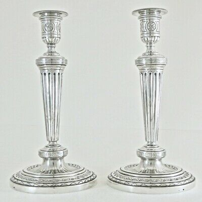 18C Pair of Antique French Sterling Silver Candlestick Candle Holder Louis XVI