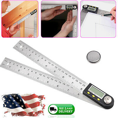 "8"" Electronic Digital LCD Angle Finder Protractor Gauge Stainless Steel Ruler US"