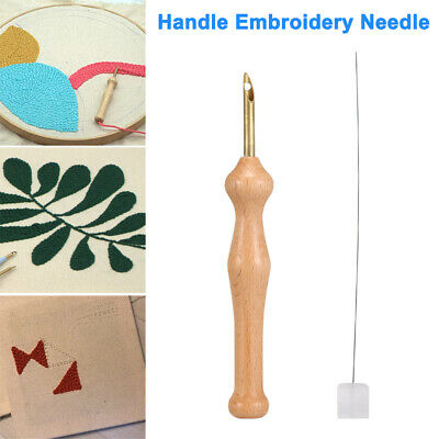 Wooden Handle Embroidery Pen Punch Needle Felting Threader Set Craft DIY Sewing