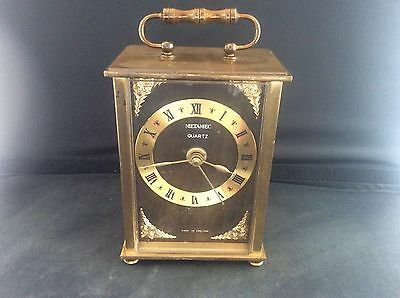 Vintage Metamec Brass Batteryt Quartz Carriage Mantle Clock German Movement