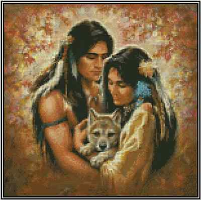 Native American Couple With Wolf Point de Croix Kit Complet #