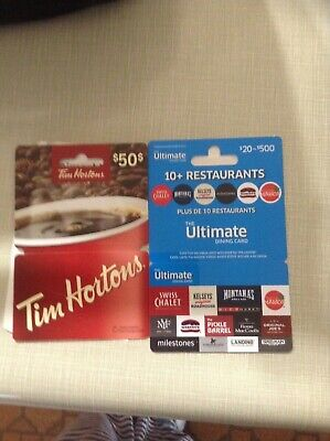 $75 Total $50 Tim Hortons + $25 The Ultimate Dining GIFTCARDS